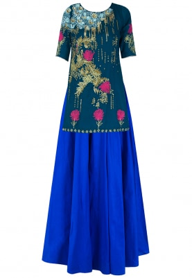 Navy Embroidered Short Kurta With Royal Blue Lehenga Set