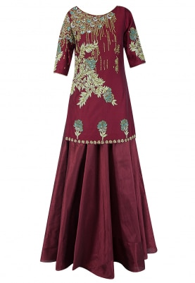 Deep Red Embroidered Short Kurta With Lehenga Set