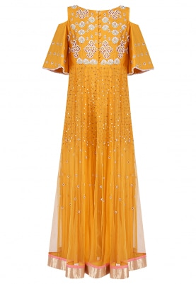 Yellow Embroidered Cold Shoulder Anarkali