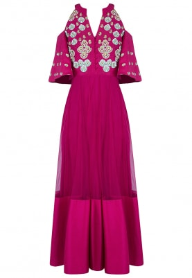 Fuschia And Gold Embroidered Cold Shoulder Anarkali Set