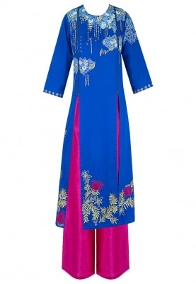 Blue Embroidered Kurta With Magenta Pants