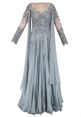 Smokey Grey Embroidered Anarkali with Attached Drapes