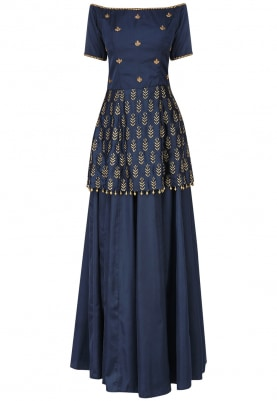 Navy Off Shoulder Embroidered Peplum with Skirt Set