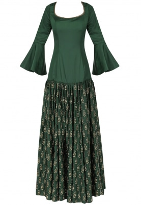 Bottle Green Embroidered Fusion Gown with Dupatta