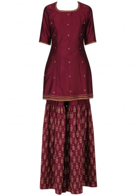 Cola Short Kurta with Embroidered Sharara Set