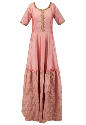 Sunset Peach Floor Length Embroidered Anarkali Set