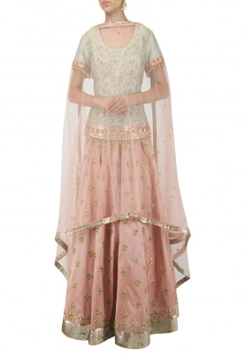 Mint Green Long Choli with Embroidered Skirt Set