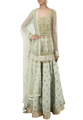 Mint Green Embroidered Peplum Kurta with Skirt Set