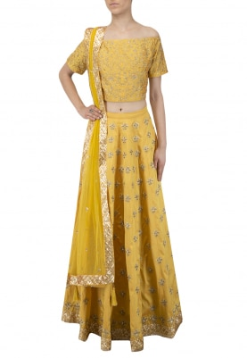 Canary Yellow Off Shoulder Crop Top with Skirt Set