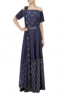 Navy Off Shoulder Crop Top with Embroidered Skirt Set