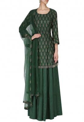 Bottle Green Short Embroidered Kurta with Skirt Set