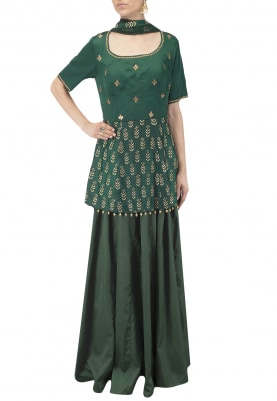 Navy Embroidered Peplum Kurta with Skirt Set