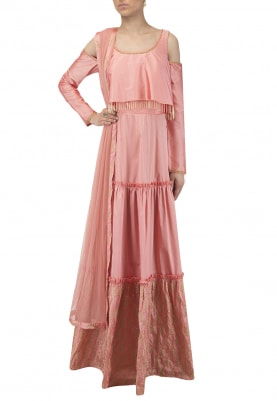 Sunset Peach Floor Length Tiered Embroidered Anarkali Set