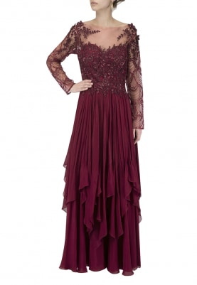Windsor Wine Double Layer Handkerchief Anarkali