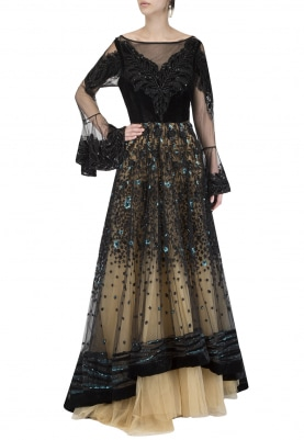 Black and Gold Heavy Embroidered Kalidaar Gown