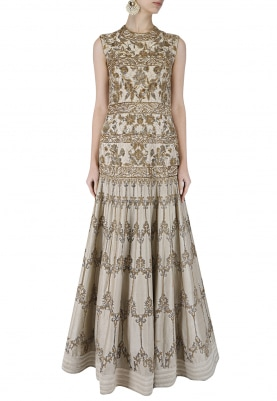 Ivory Embroidered Gown