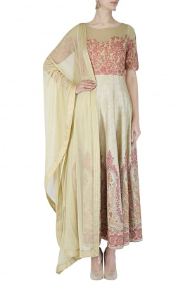 Beige Anarkali with Dupatta Set