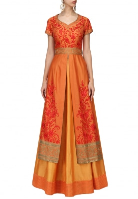Mustard Orange Lehenga & Jacket Set