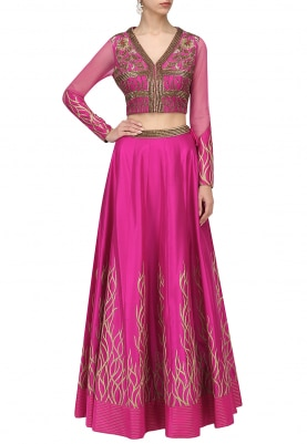 Dark Pink Highwaited Lehenga, Choli