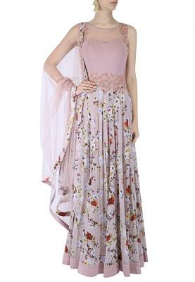 Grey Anarkali and Dupatta Set