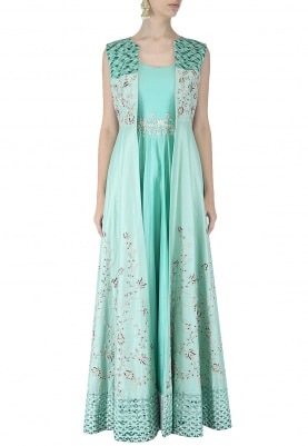 Aqua Green Anarkali & Jacket Set