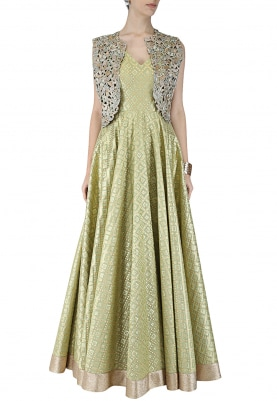 Olive Green Anarkali with Gold Cape Jacket