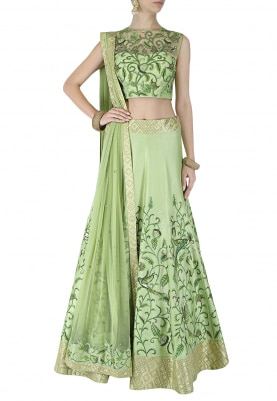 Parrot Green Lehenga, Choli and Dupatta Set