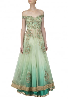 Off-Shoulder Ombre Aqua Green Jacket & Lehenga