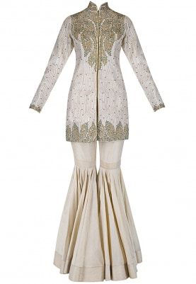 Beige Jacket with Sharara