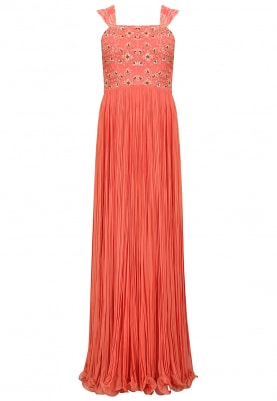 Orange Digital Printed Gown