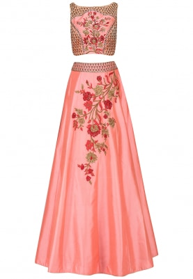Peach Lehenga Choli Set