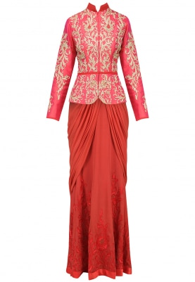 Coral Jacket with Saree