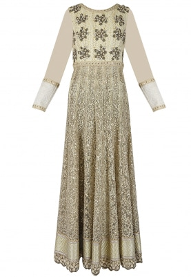 Gold Anarkali and Dupatta Set