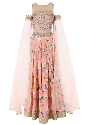 Peach Anarkali and Dupatta Set