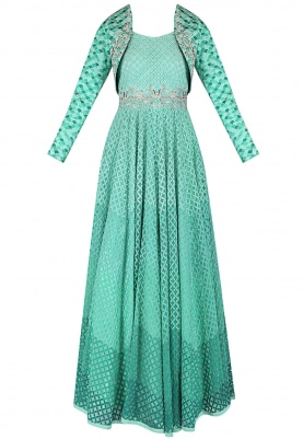 Light Green Anarkali & Bolero Jacket