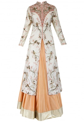 Ivory Peach Jacket & Lehenga Set
