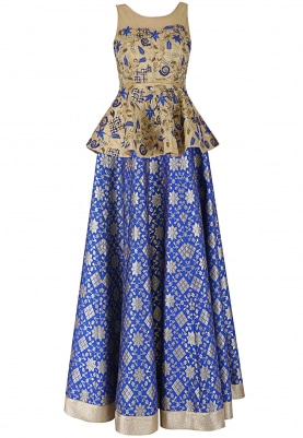 Gold Corset with Blue Lehenga Set