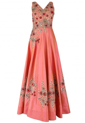 Peach Gown with Resham Embroidery