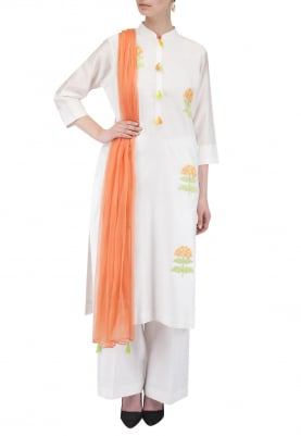 White Applique Kurta Set with Contrast Dupatta