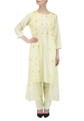 Lemon Kurta with straight pants