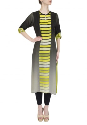 Black To Grey Ombred Neon Green Centre Brick Kurta