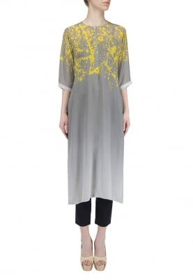 Dark Grey and Yellow Splash Print Kurta