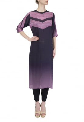 Purple To Lavender Ombred Wood Print Kurta