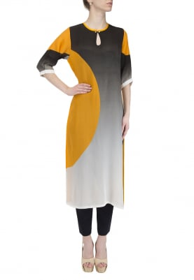Black To White Ombred Yellow Side Chand Kurta