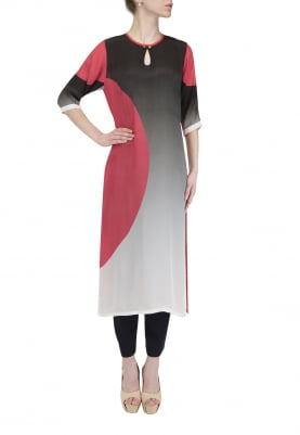 Black To White Ombred Coral Side Chand Kurta