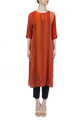Red Bar Print Kurta