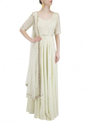 Mint Green Mirror Work Anarkali Set