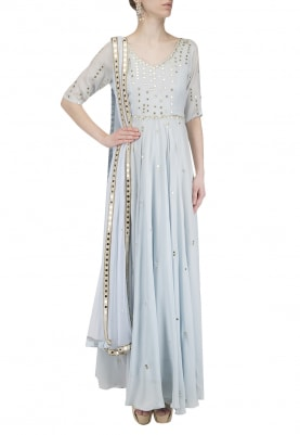 Ice Blue Mirror Work Anarkali Set