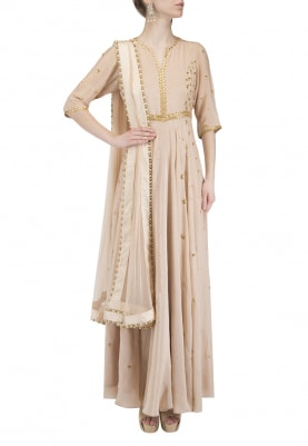 Nude Gota Embroidered Anarkali Set