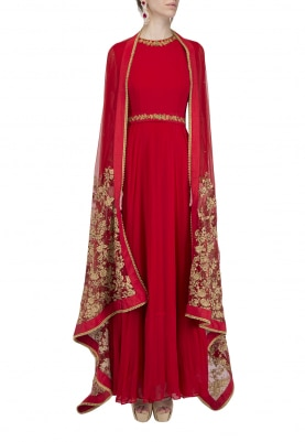 Red Embroidered Anakali Set